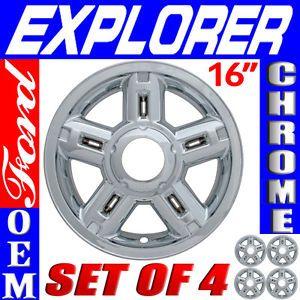"4 PC Set Ford Explorer 16"" Chrome Wheel Skins Rim Covers Hub Caps Wheels"