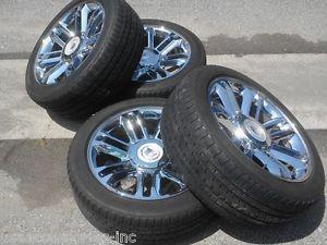 "22"" Platinum Cadillac Escalade Chrome Wheels Rims Tires"