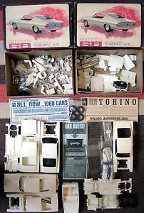 2 Old AMT 1968 Ford Fairlane Torino GT 2 in 1 Car Model Kits 1 25 Junkyard Parts