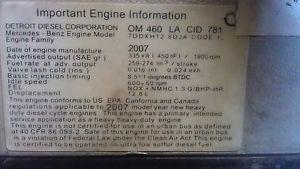 Complete Mercedes Benz Engine OM 460 La CID 781 Eng Family 7DDXH12 8DJA Code 1