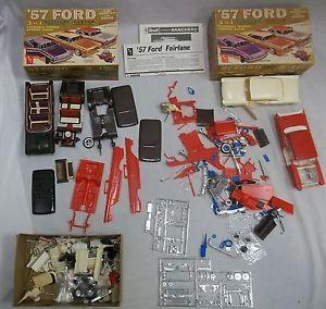 Set of 2 Older AMT 1957 Ford 1 25 Car Model Junkyard Parts in ORIGINAL Box