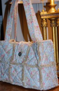 Chic Shabby Paisley Fabric Rag Quilt Bag Purse Tote
