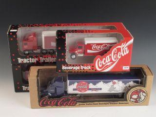 4 Ertl Coca Cola Tractor Trailer Semi Trucks