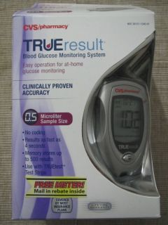 True Result 0 5ml Blood Glucose Monitoring System Meter Lancets 10x Test Strips