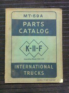 International Truck Parts Catalog MT 59A K 11 F Vintage 1949