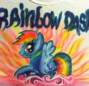 Airbrush My Little Pony Horse New Design Unicorn Rainbow Dash T Shirt Airbrushed