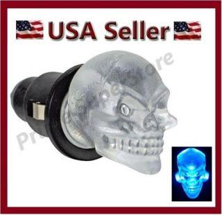 1 New 12V Dash Glow Cigarette Lighter Blue LED Skull Head Interior Map Light Car