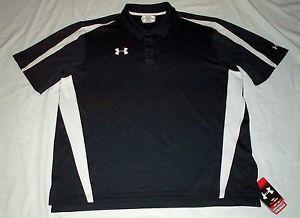 Under Armour Heat Gear Black UPF 30 Odor Control Polo Golf Shirt Men XL