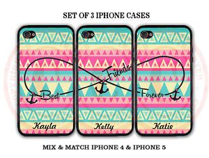 Personalized Aztec BFF Best Friends iPhone Cases 3 iPhone 4 4S iPhone 5 Cases