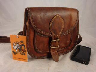 "Handmade 8"" Goat Leather Satchel Shoulder Bag Handbag Purse Money Pouch ZL8"