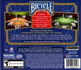 Bicycle Black Jack PC DVD ROM Poker Brand New 081656065711