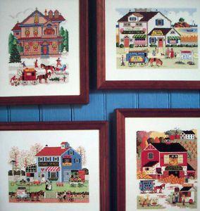 Charles Wysocki 4 Seasons Cross Stitch Pattern Village Scenes Horse Carts