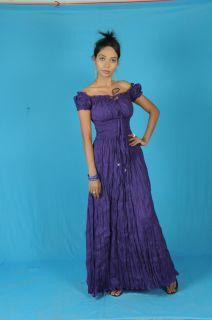 Purple Cotton Peasant Sun Long Maxi Boho Hippie Gypsy Casual Beach Dress s M L
