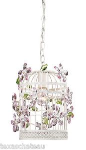 Shabby French Cottage Chic Vintage Style White Bird Cage Jewels Chandelier New