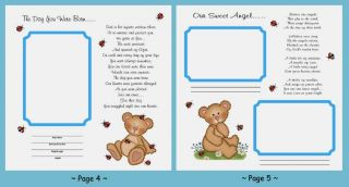 24 Baby Shower Gift Premade Adoption Boy Bear First Year Poems Scrapbook Pages