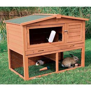 2 Story Pet Nesting Hutch Rabbit Guinea Pigs Pen Small Animal Cage Outdoor Wood