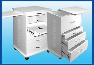 2 Medical Dental Equipment Mobile Cabinet Carts White Mix Match