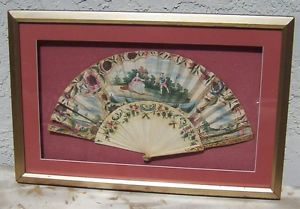 Antique Hand Painted Fan 1785 Display Case