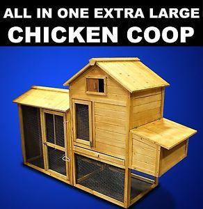 New XL Wooden Chicken Coop Nesting Box Hen House Chick Pen Rabbit Hutch HJ005