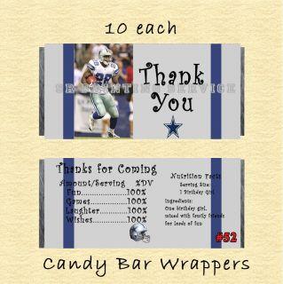Dallas Cowboys Philadelphia Eagles Birthday Invitation THK U Sticker Candy Wrap