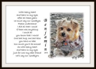 Personalized Pet Memorial Poem Your Photo Dog Cat Horse U Print Download