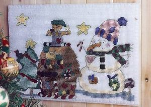 Snowman Gingerbread House Plastic Canvas Pattern