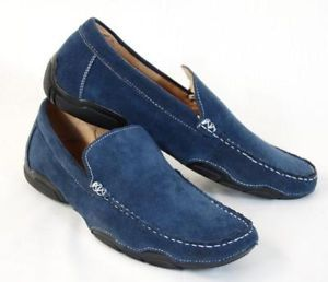 FW36 Mens Blue Suede Shoes Casual Loafers US 11