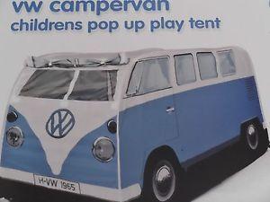 VW camper Van Pop Up Children Play Tent 1965 VW Camping Toy Blue