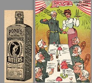 Gar Pond's Bitters Malaria Cure Ginger Brandy Risque Lady Civil War Trade Card