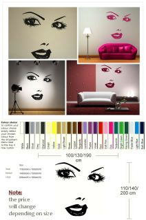Pretty Woman Model Face Wall Art Sticker Decal Huge Removable Vinyl UK RA187