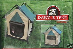 Dawg E Tent Dog Tent Portable Travel Shelter Kennel Camping Pop Up Frame w Case