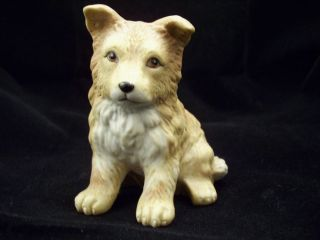 Vintage Homco Collie Puppy Dog Figurine Bisque Porcelain Shepherd Tan 8828