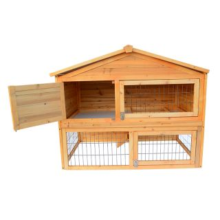 "45""L 30""w Portable Rabbit Hutch Wooden Hen Chicken Coop House Wood Pet Cage"