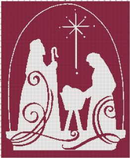 Christmas Jesus Nativity Scene Cross Stitch Pattern