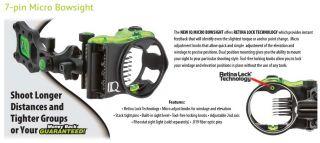 IQ Bowsight 7 Pin IQ Micro Bowsight with Retna Lock Right Hand 00323 Bow Sight