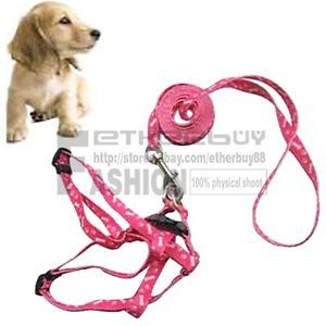 Pink Detachable Pet Puppy Small Dog Lead Leash Harness Pulling Nylon Rope New