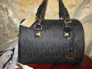 Michael Kor Grayson Chain MD Satchel Handbag Purse Black $348 Dust Bag