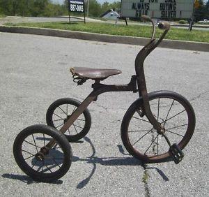 Antique Complete 1920's Steel Tricycle Childrens Bike Primitive Original
