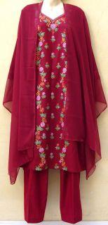 SK166 Kashmiri Embroidery Woolen Salwar Kameez Plus Sz