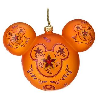 Disney Mickey Mouse Paisley Glass Christmas Ornament Orange Star Flowers New