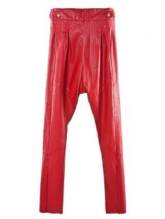 Harem Pleated Pockets Synthetic Leather Pants Legging Red Black Punk
