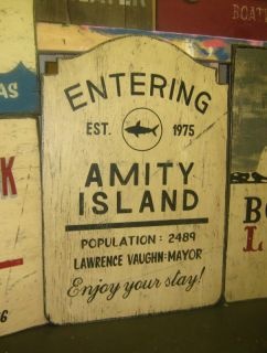 Jaws The Movie Amity Island Town Wood Sign Bar Restaurant Beach House Large