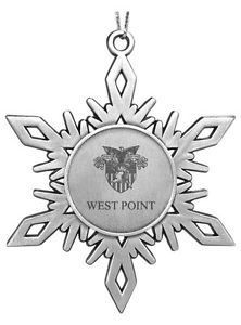 West Point US Military Academy Engraved Pewter Snowflake Christmas Ornament Army