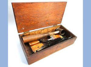 Lot Antique BGI Black Powder Tool Accessories Wood Box Musket Shot Gun Cleaning
