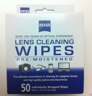 Zeiss 50 Count Pre Moistened Optical Multi Purpose Lens Cleaning Cloths Wipes
