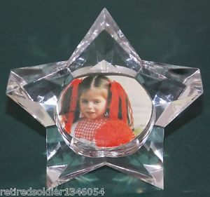 "New 3"" Clear Acrylic 2 Sided Star Photo Picture Holder Frame Paper Weight"