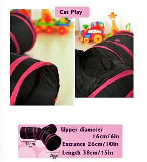 Cat Kitten Pet 3WAYS Cave Play Tunnel Toy Accessory Supplies with Peep Holes