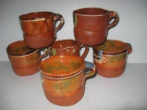 Vtg Set of Six Old Mexican Pottery Handmade Clay Coffee Cups Mugs Personalized