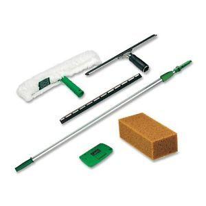 Unger PWK00 Pro Window Cleaning Kit w 8 ft Pole Scrubber Squeegee Scraper