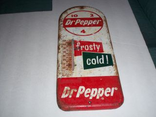 Vintage RARE Dr Pepper Thermometer Circa 1950's Metal Sign Patina Soda Mancave